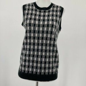 J. Crew Collection Womens Top Gin Checked Cashmere